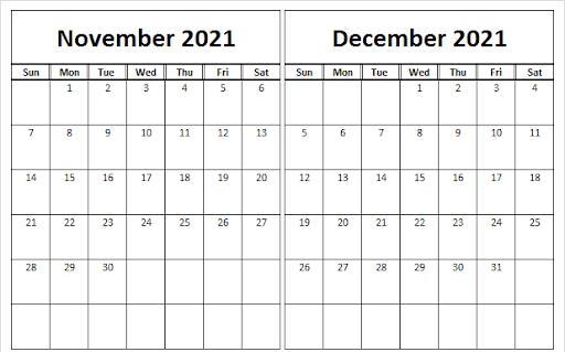 November December Calendar 2021