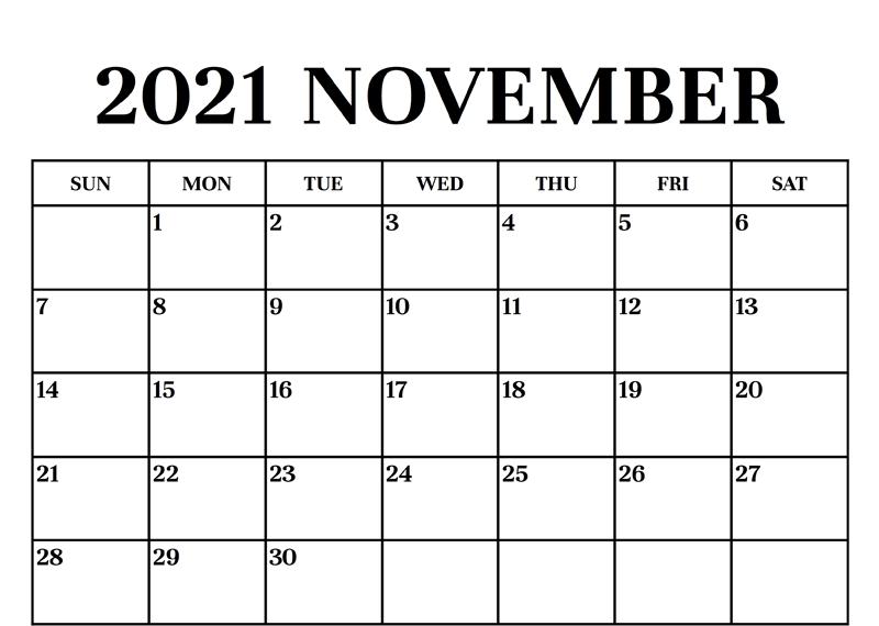 Print November 2021 Blank A4 Page