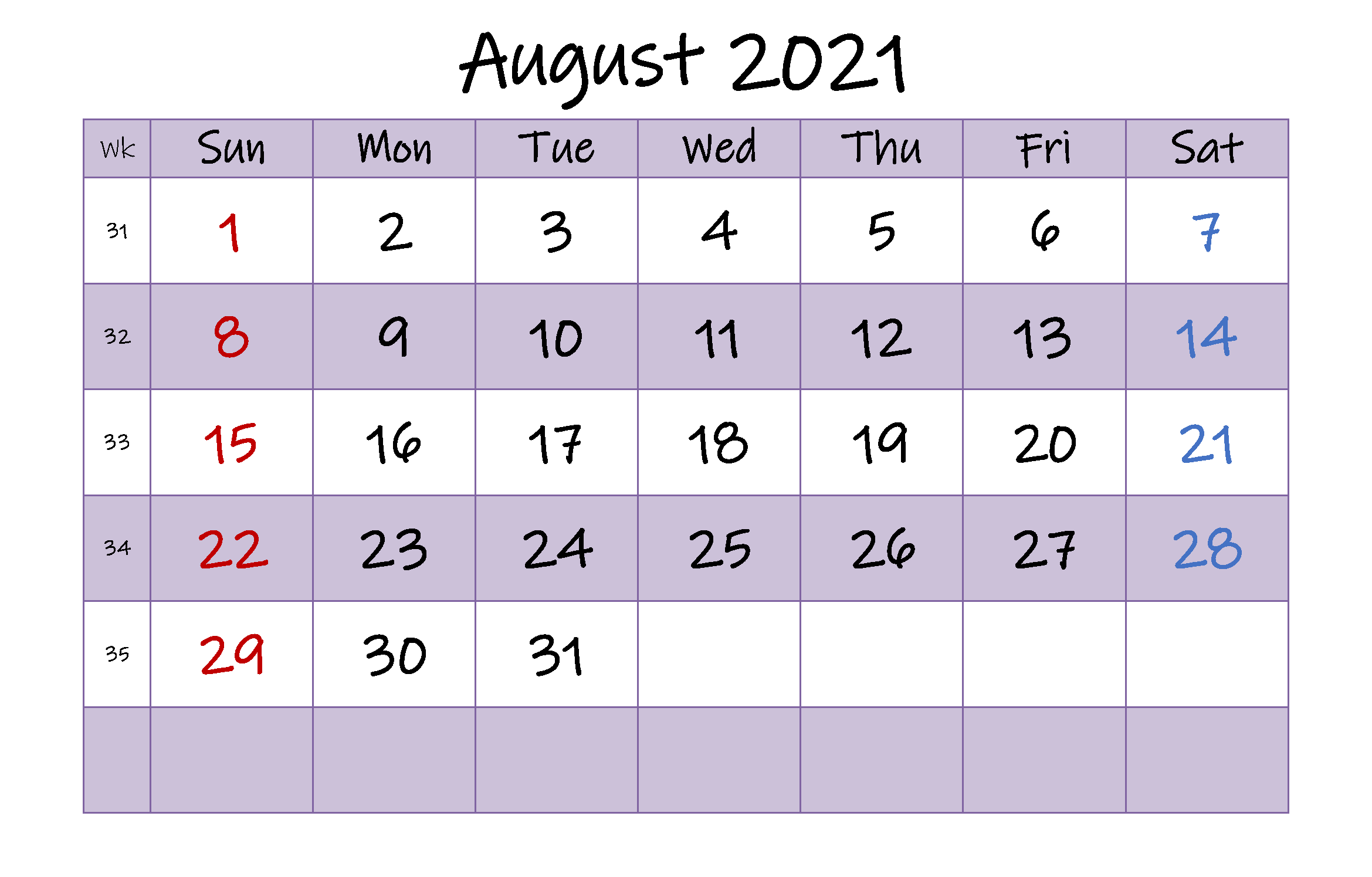2021 August Calendar Editable
