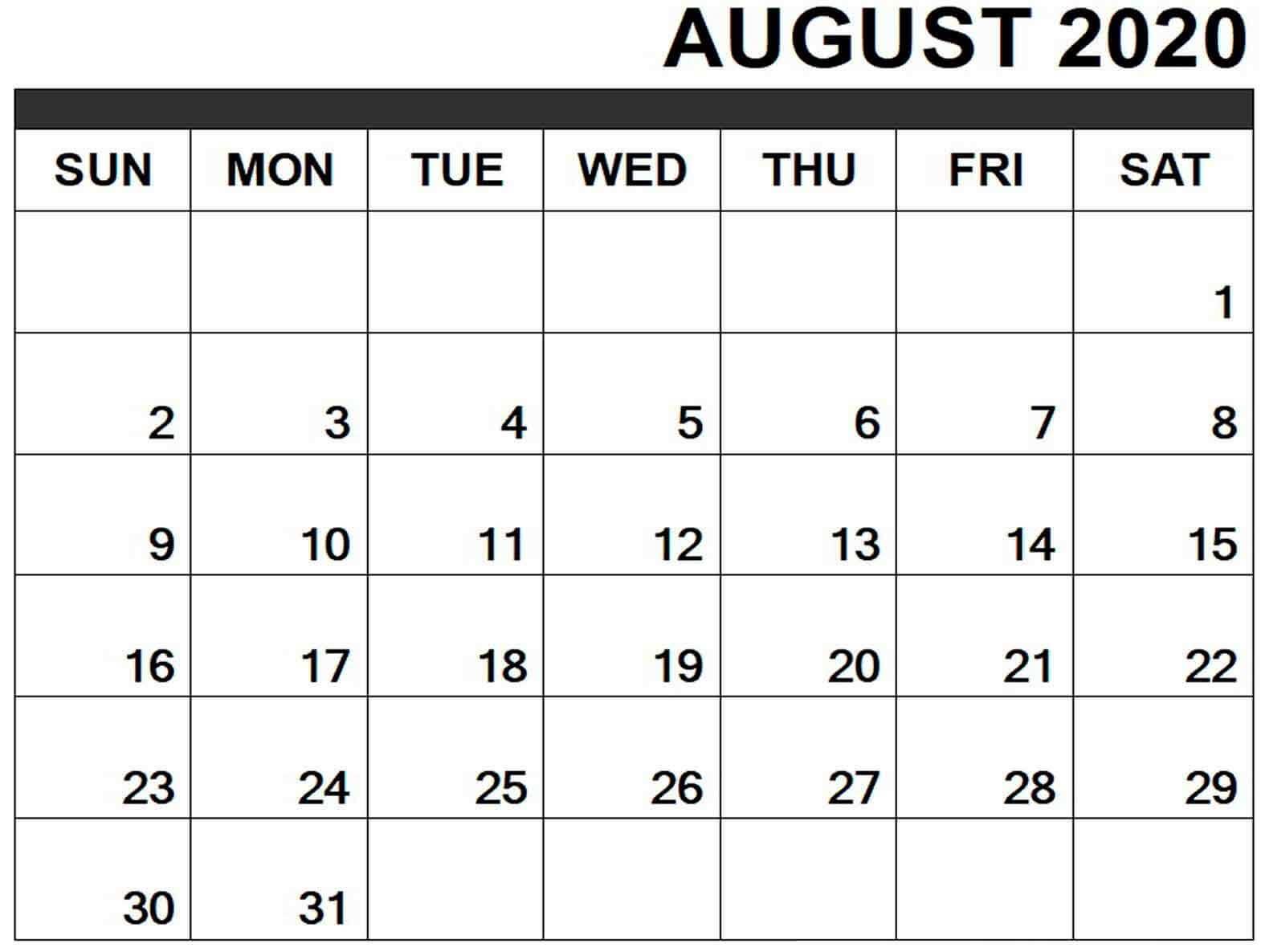 August 2020 Calendar Editable
