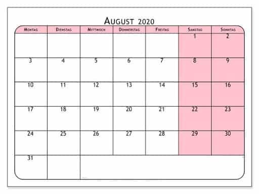 August 2020 Kalender PDF