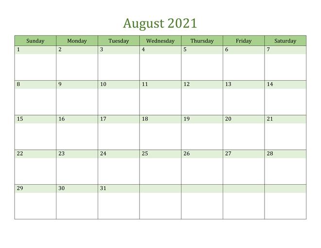 August 2021 Editable Calendar