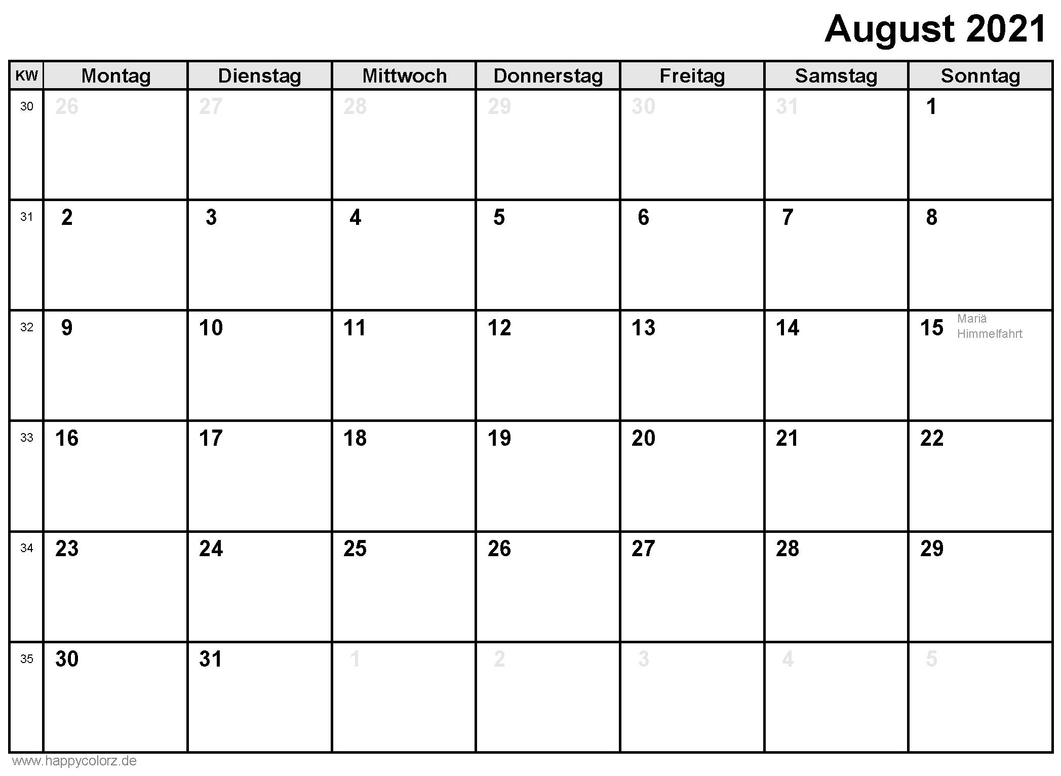 August 2021 Leere Kalender