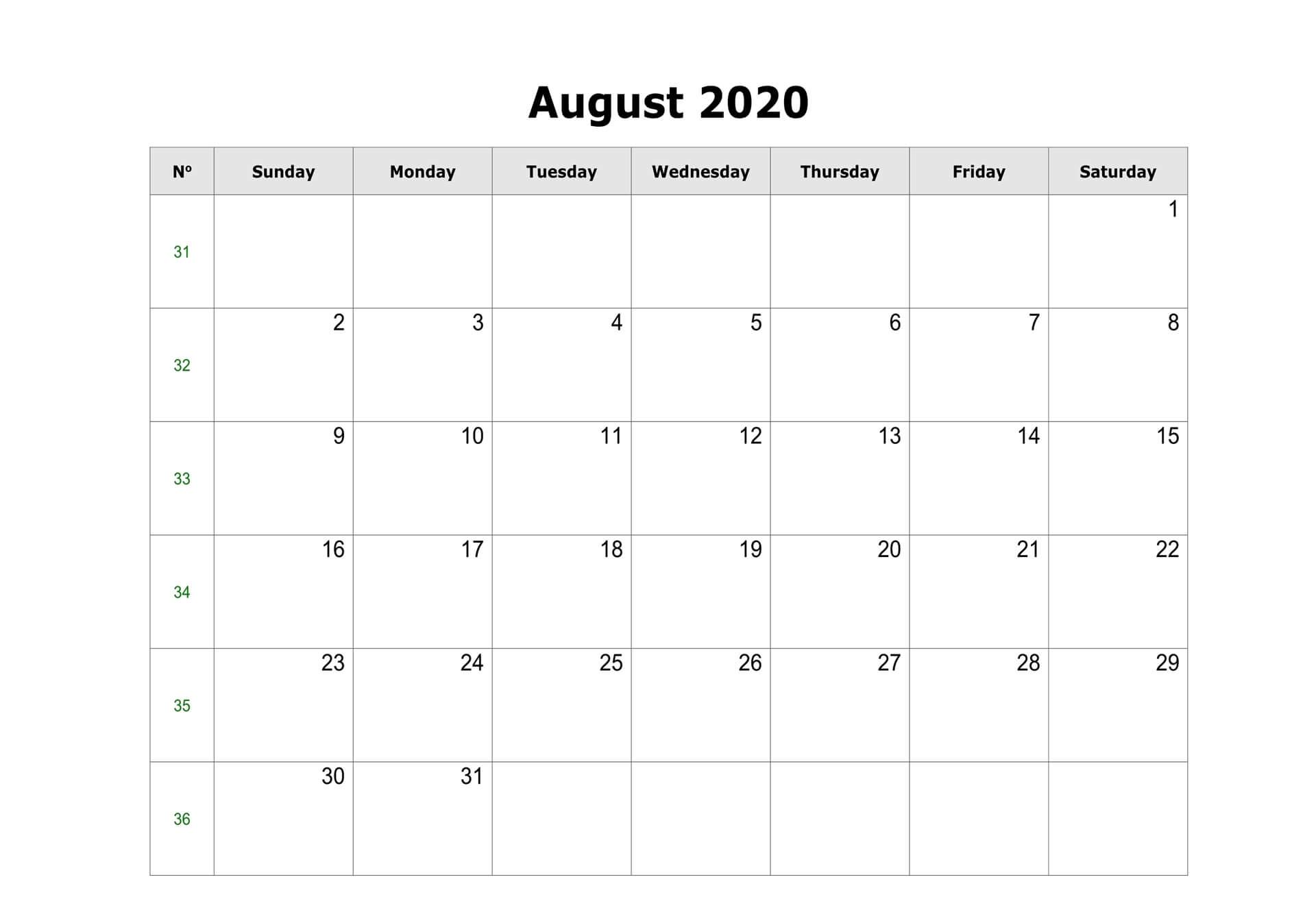 August Editable Calendar 2020