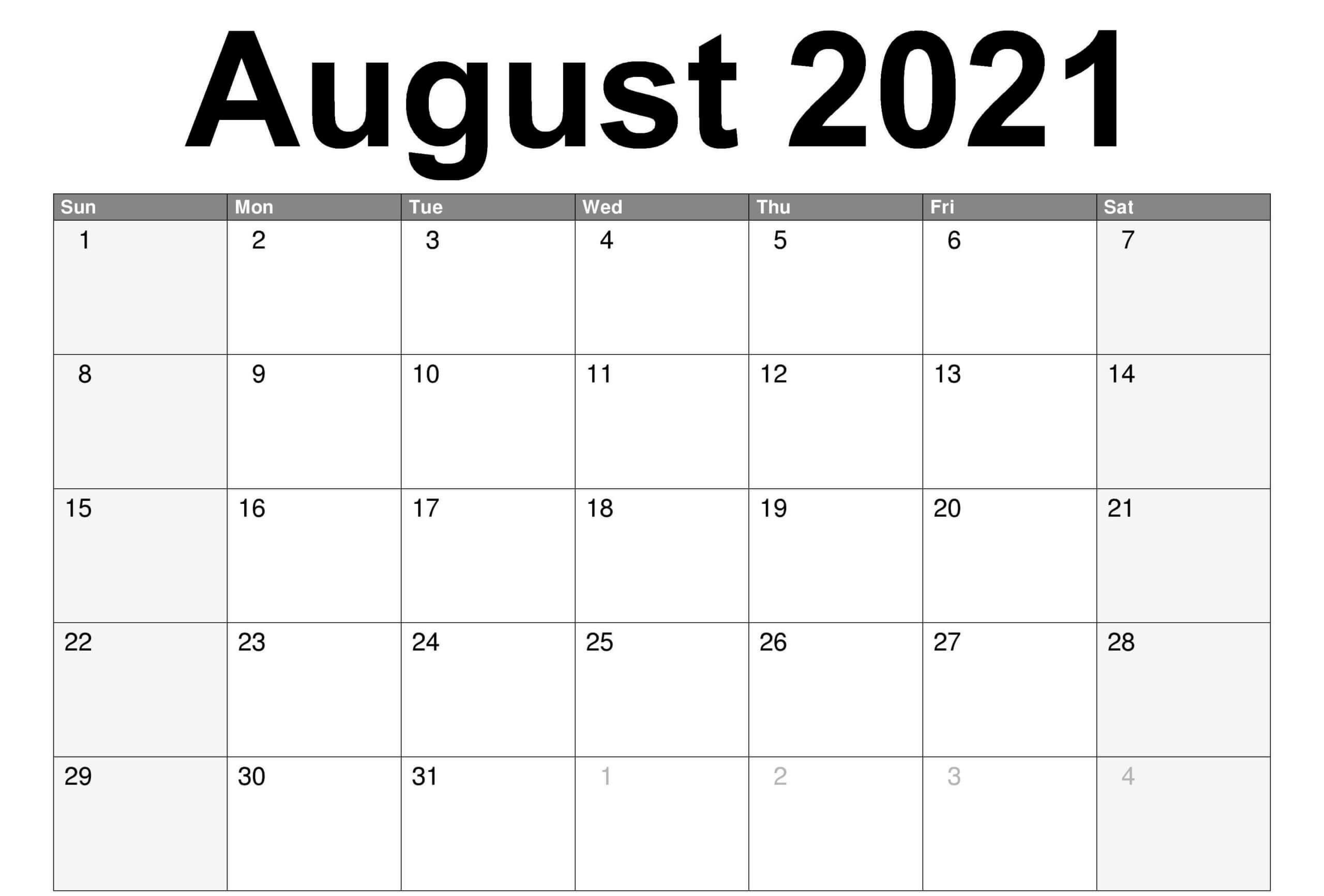 Blank August 2021 Calendar Editable
