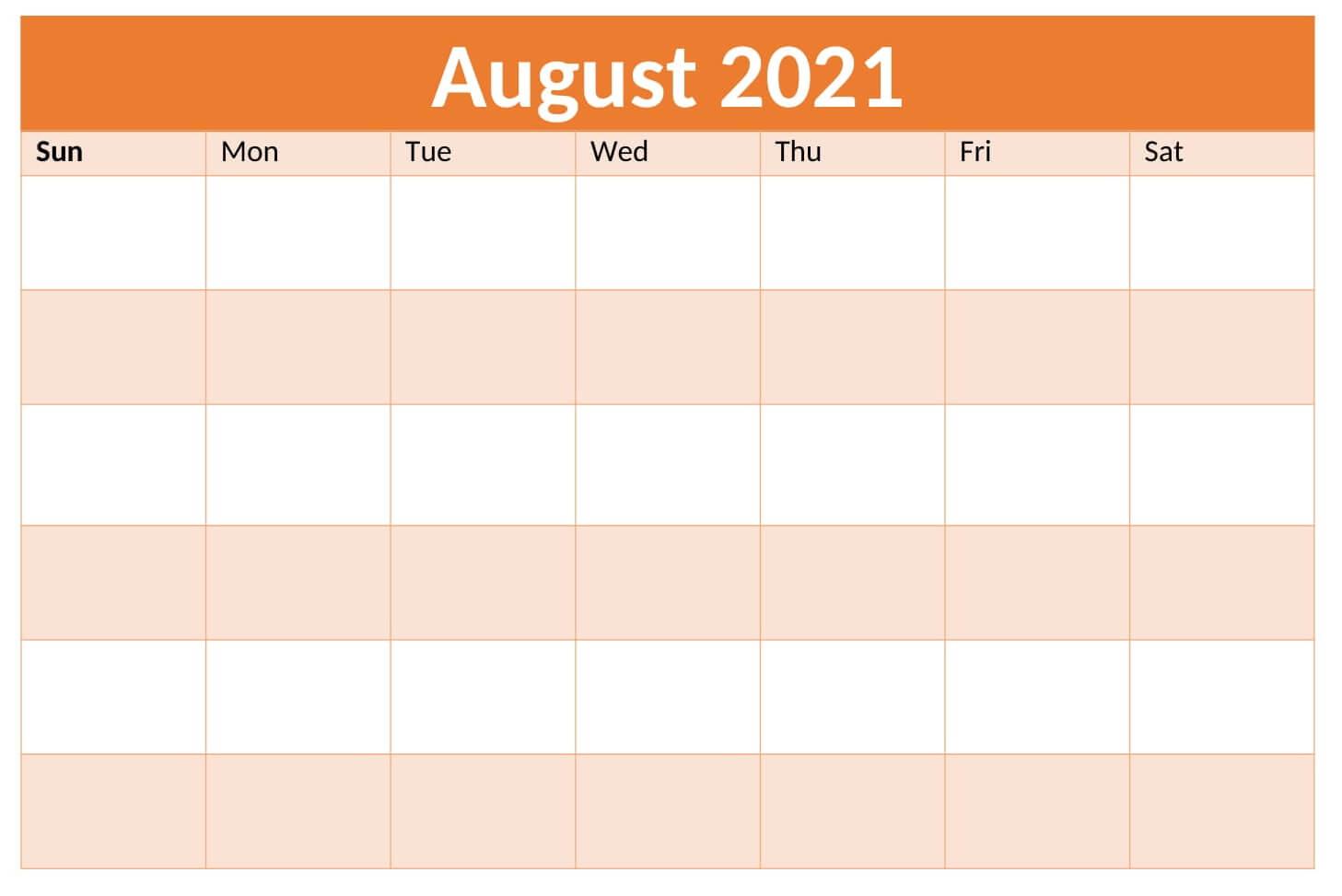 Editable August 2021 Calendar Excel
