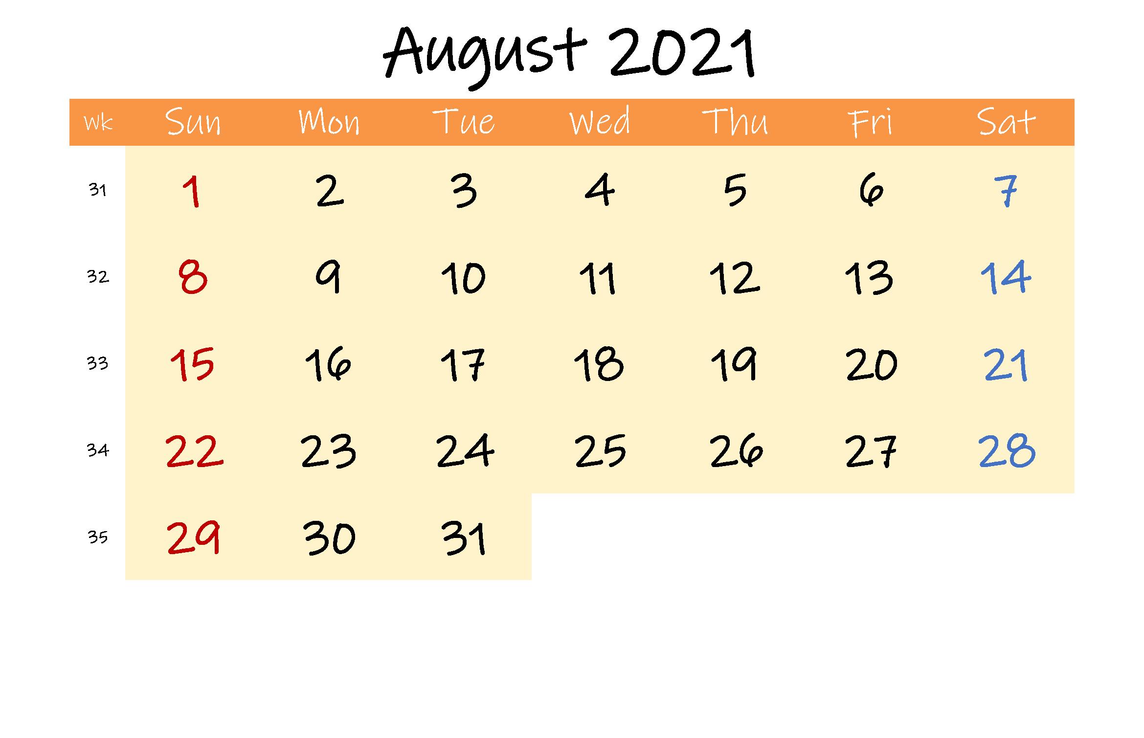 Editable August 2021 Calendar Template