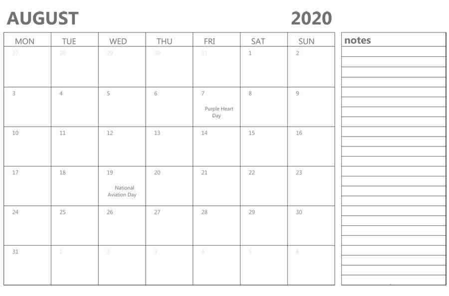 Editable August Calendar 2020 With Notes