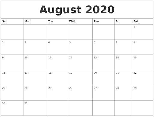 Editable August Calendar 2020