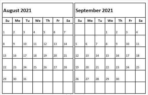 Editable Calendar Aug Sep 2021 Calendar