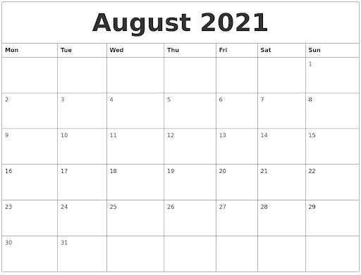 Free Editable August Calendar 2021