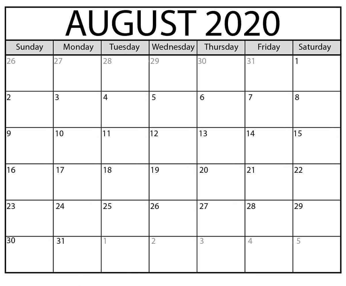 Free Printable Editable August Calendar 2020
