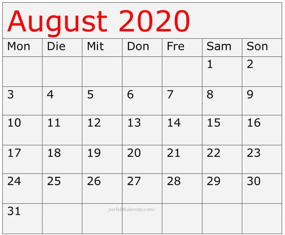 Kalender August 2020 Deutsch