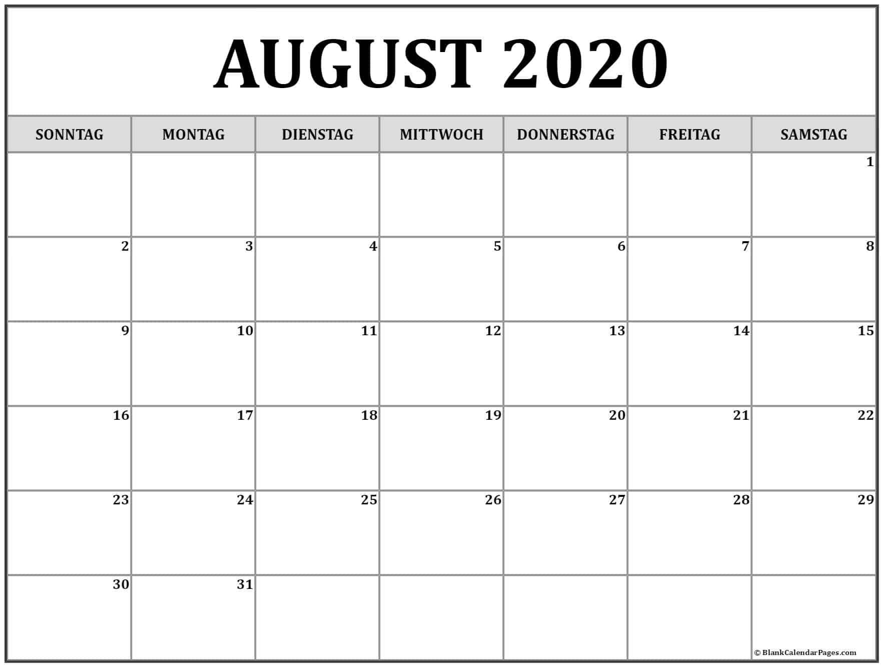 Kalender August 2020 Druckbare