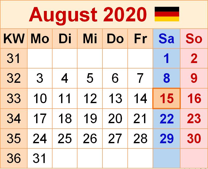 Kalender August 2020 Mit Feiertagen