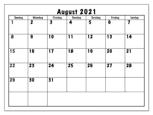 Kalender August 2021 Druckbare Vorlage