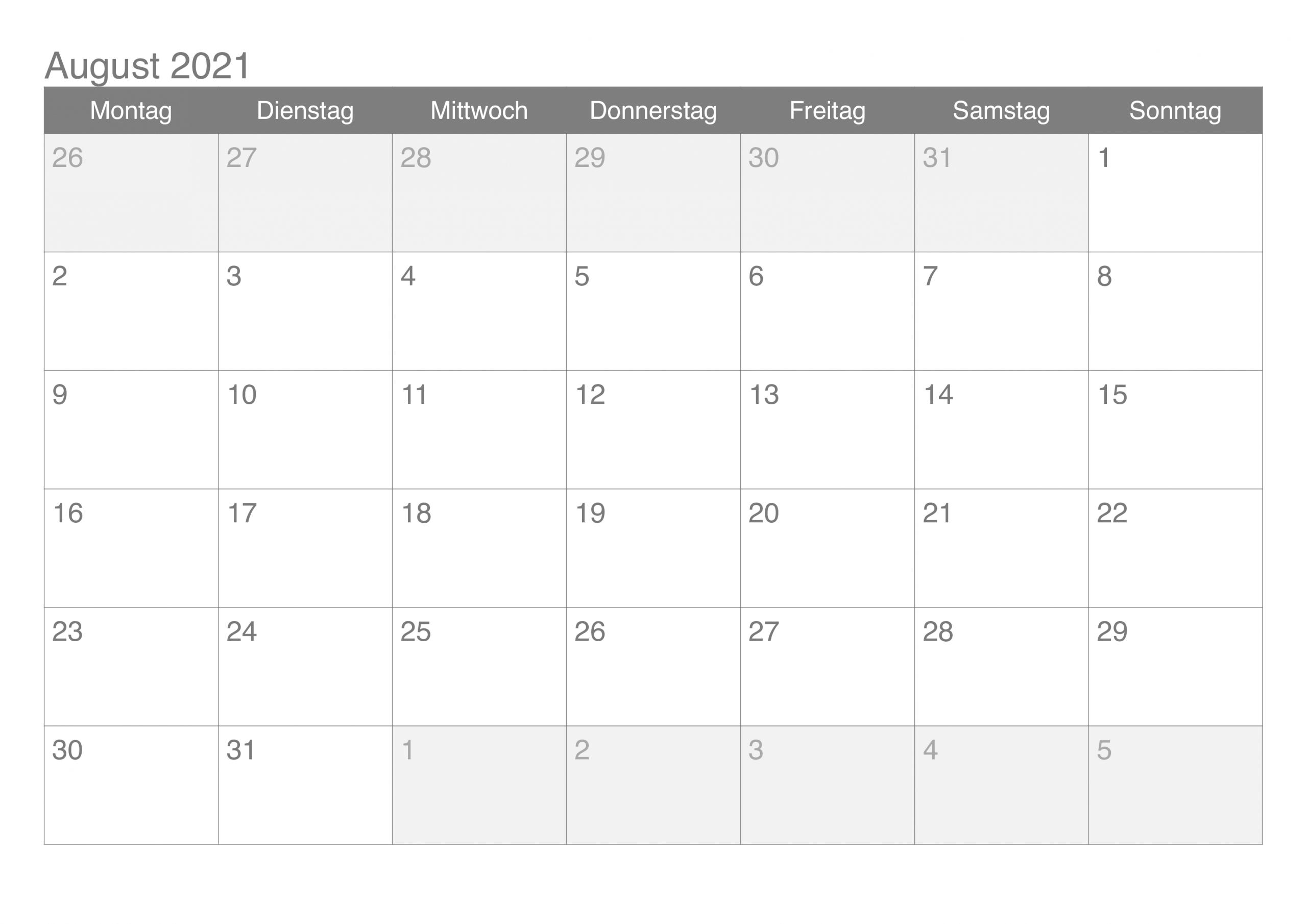Kalender August 2021 Druckbare