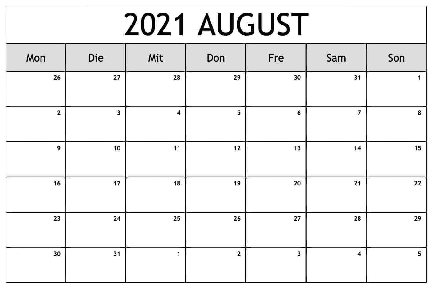 Kalender August 2021 Mit Feiertagen