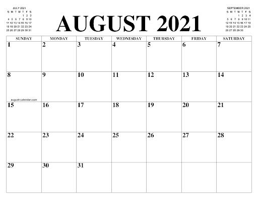 Kalender August 2021