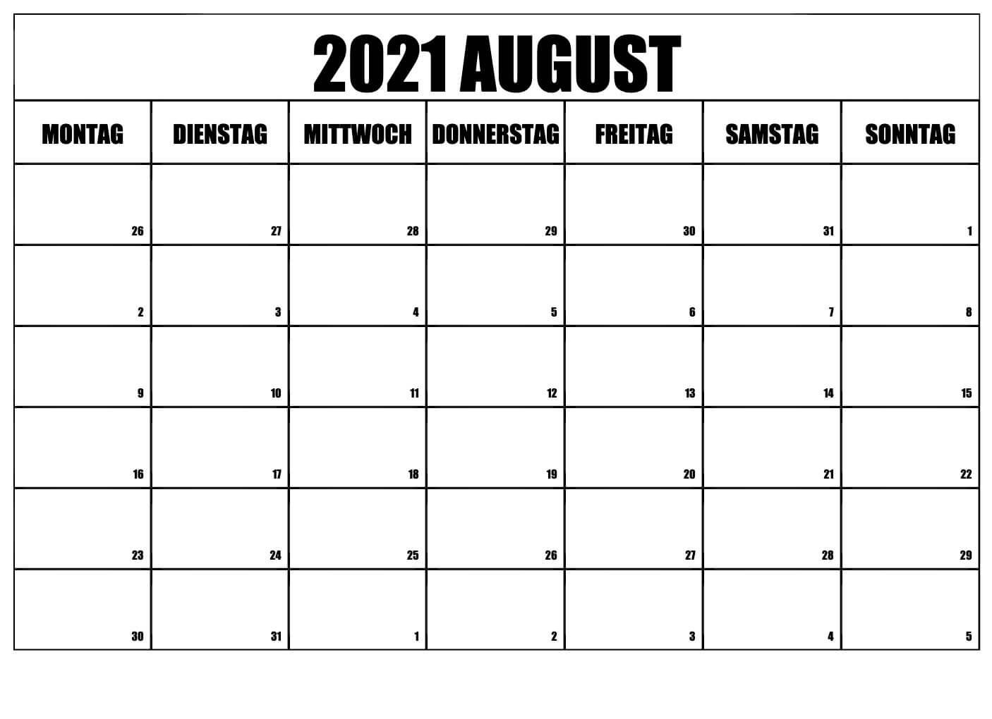 Kostenlos zum Ausdrucken August 2021 Kalender