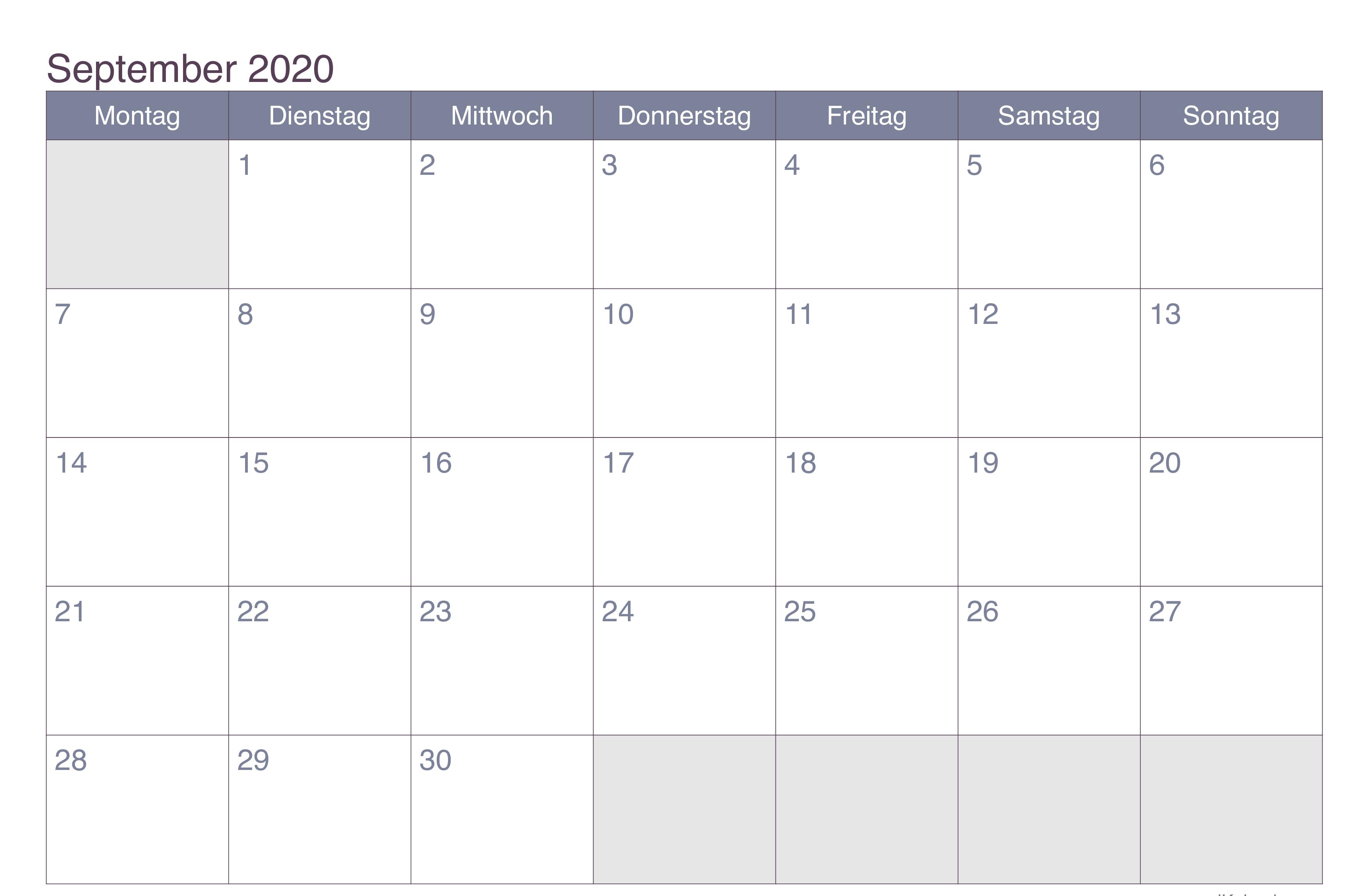 Kalendar September 2020 zum Ausdrucken