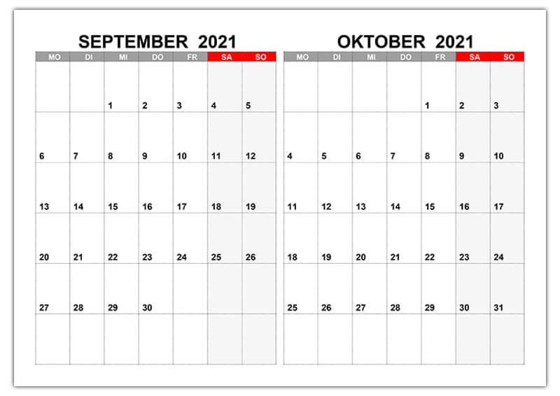 Kalender Für September, Oktober 2021