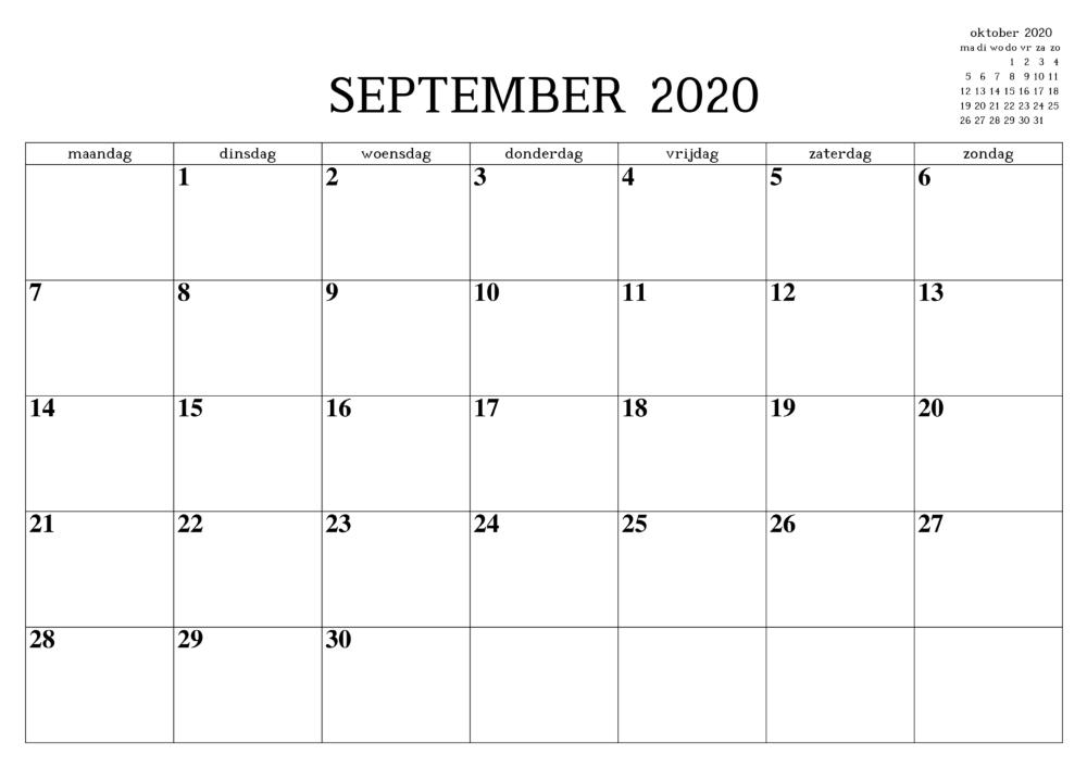 Kalender September 2020 Druckbare