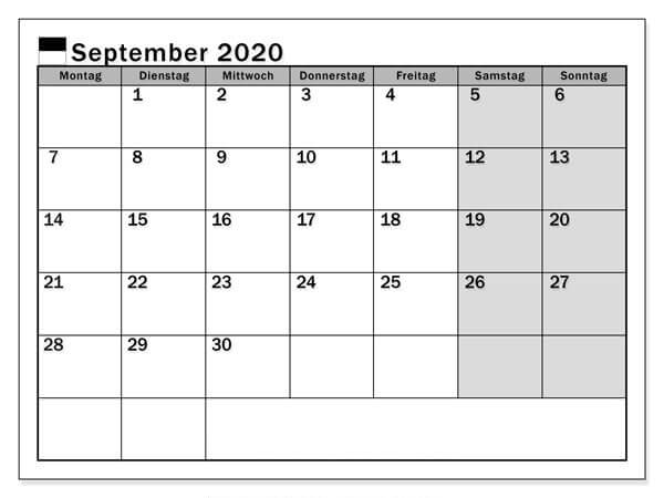 Kalender September 2020 Freiburg