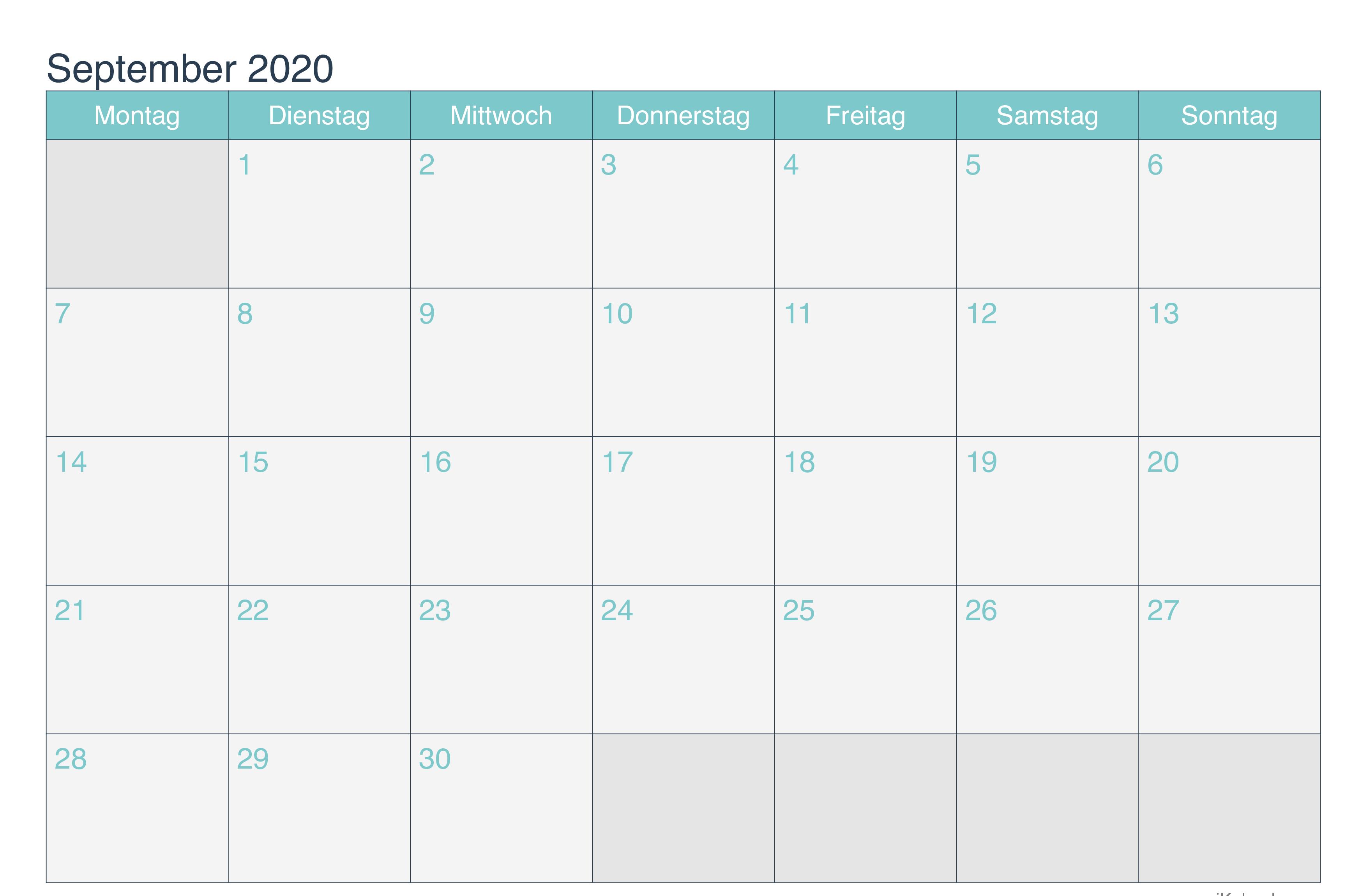 Kalender September 2020 PDF