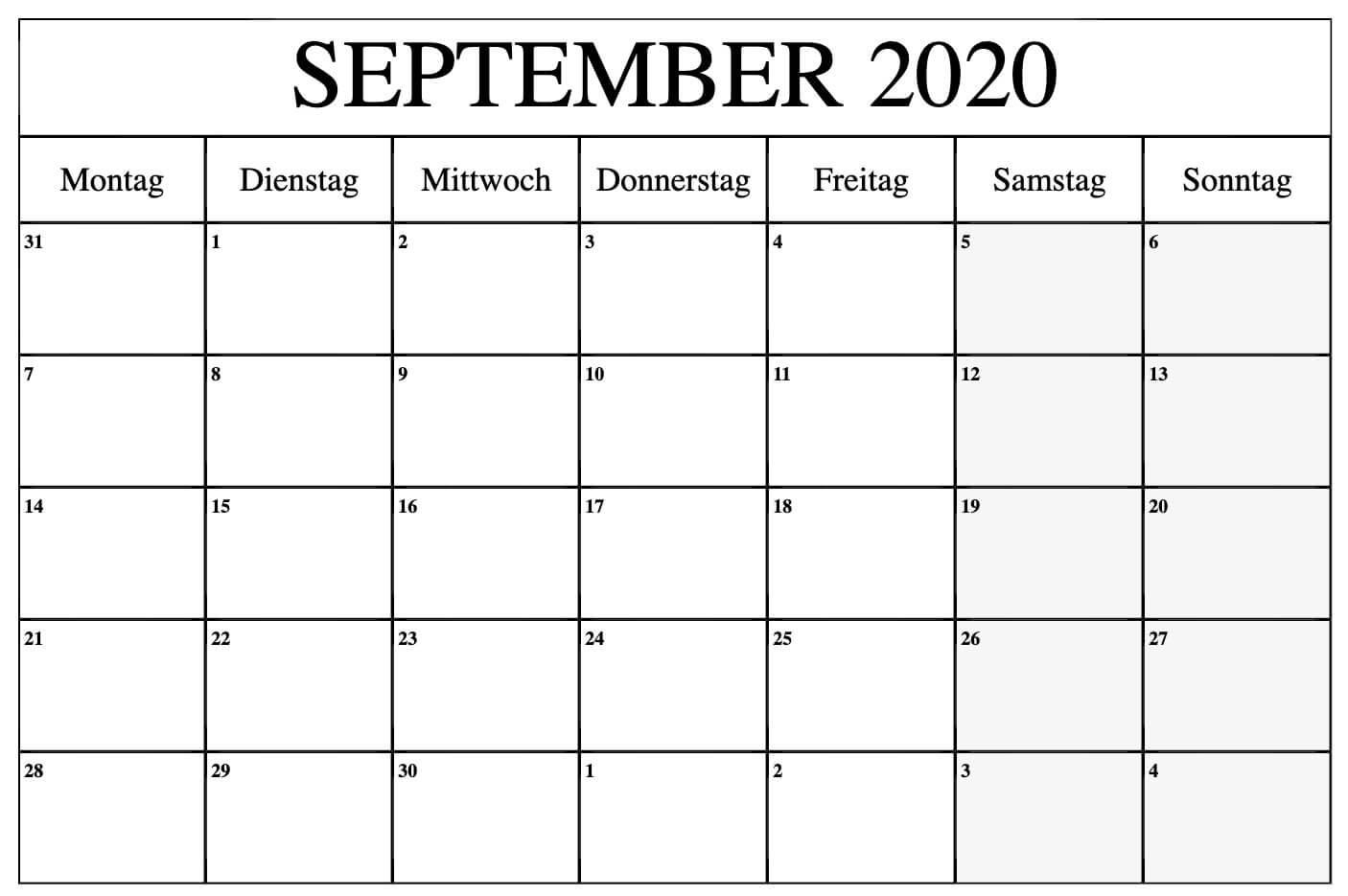 Kalender September 2020 Word