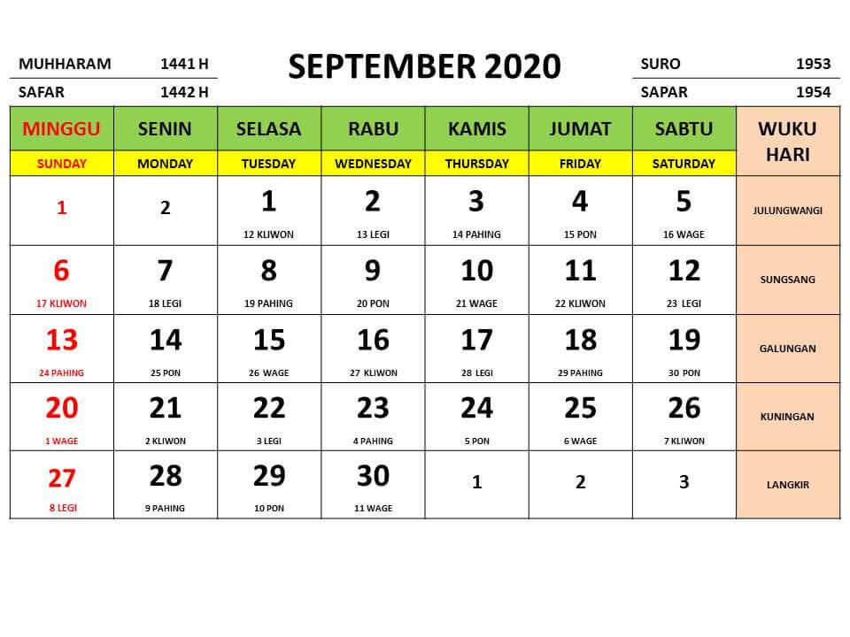 Kalender September 2020 mit Feiertagen