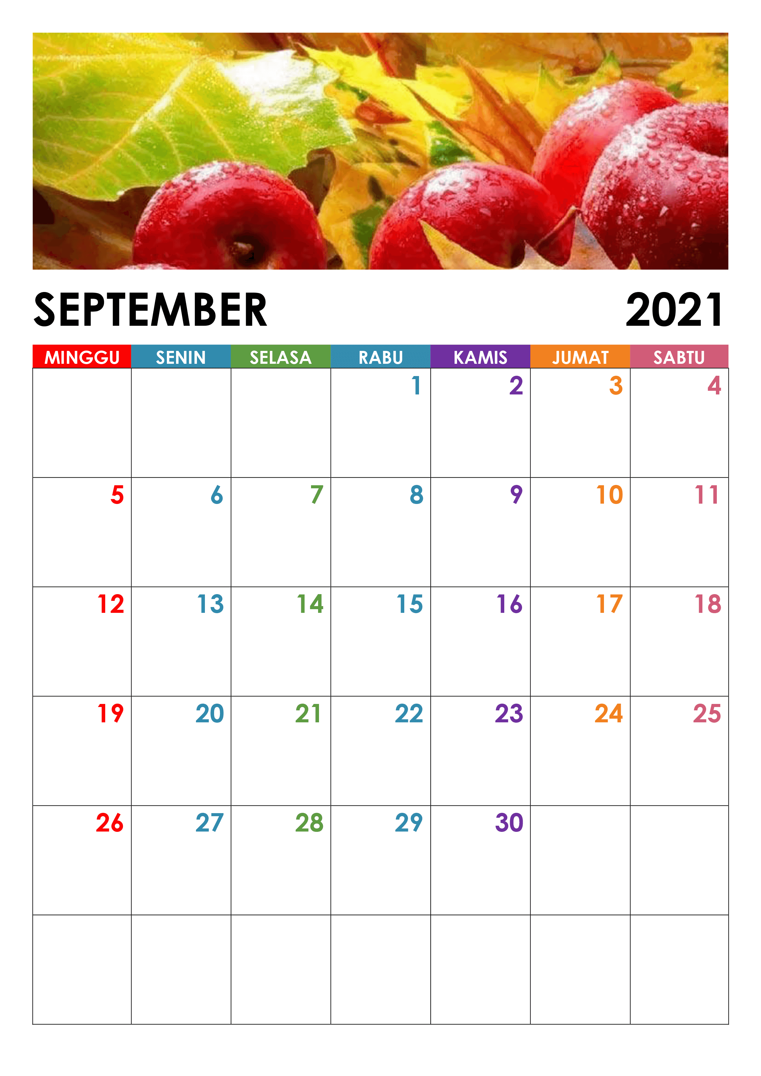 Kalender September 2021 Druckbare