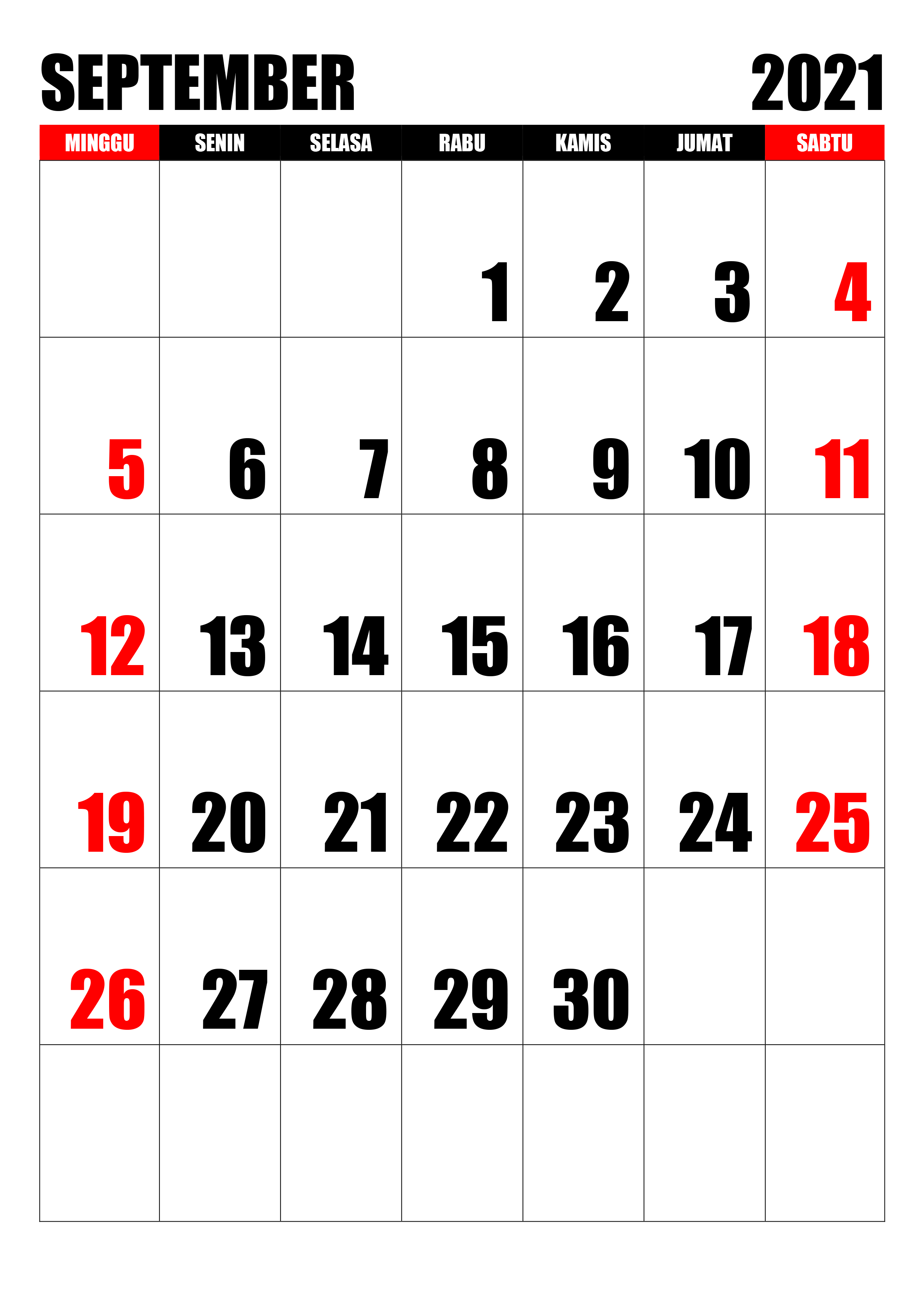 Kalender September 2021 PDF