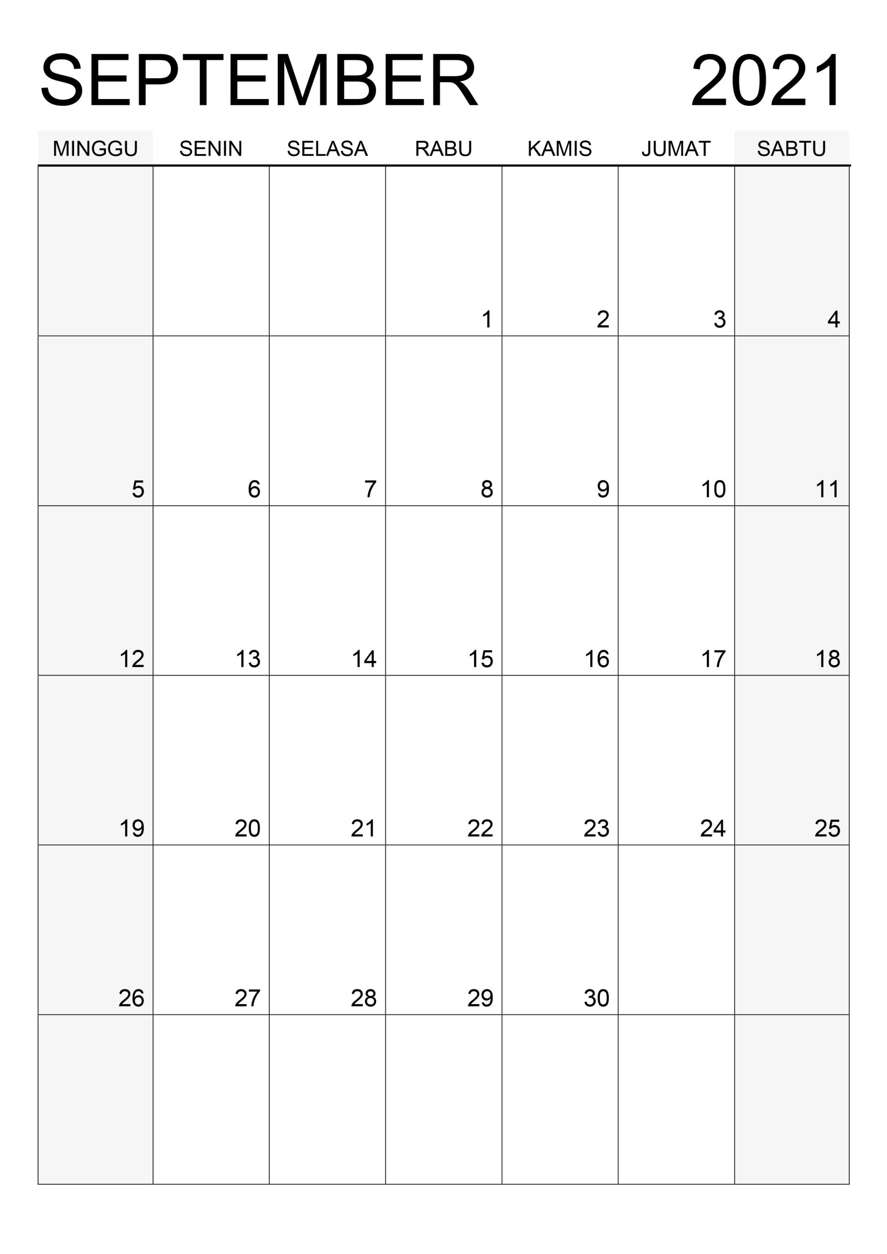 Kalender September 2021 Vorlage