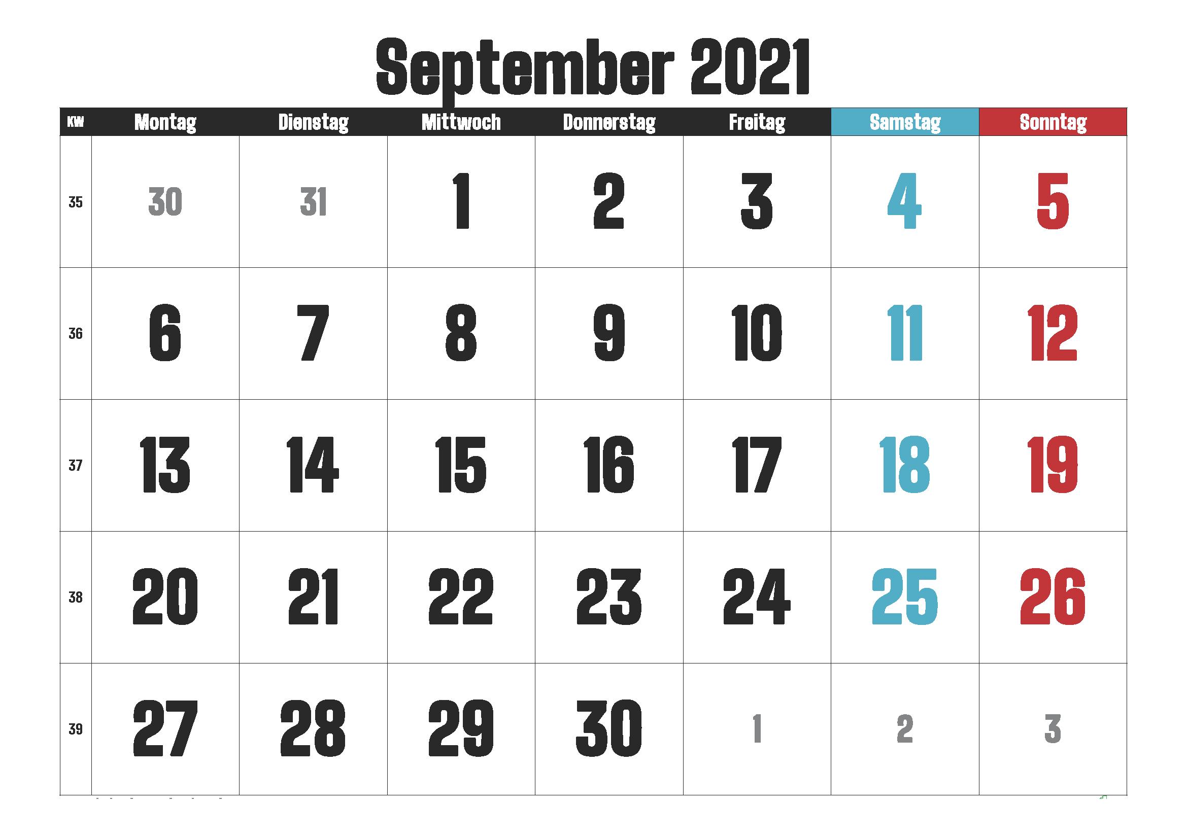Kalender September 2021 zum Ausdrucken mit Feiertagen