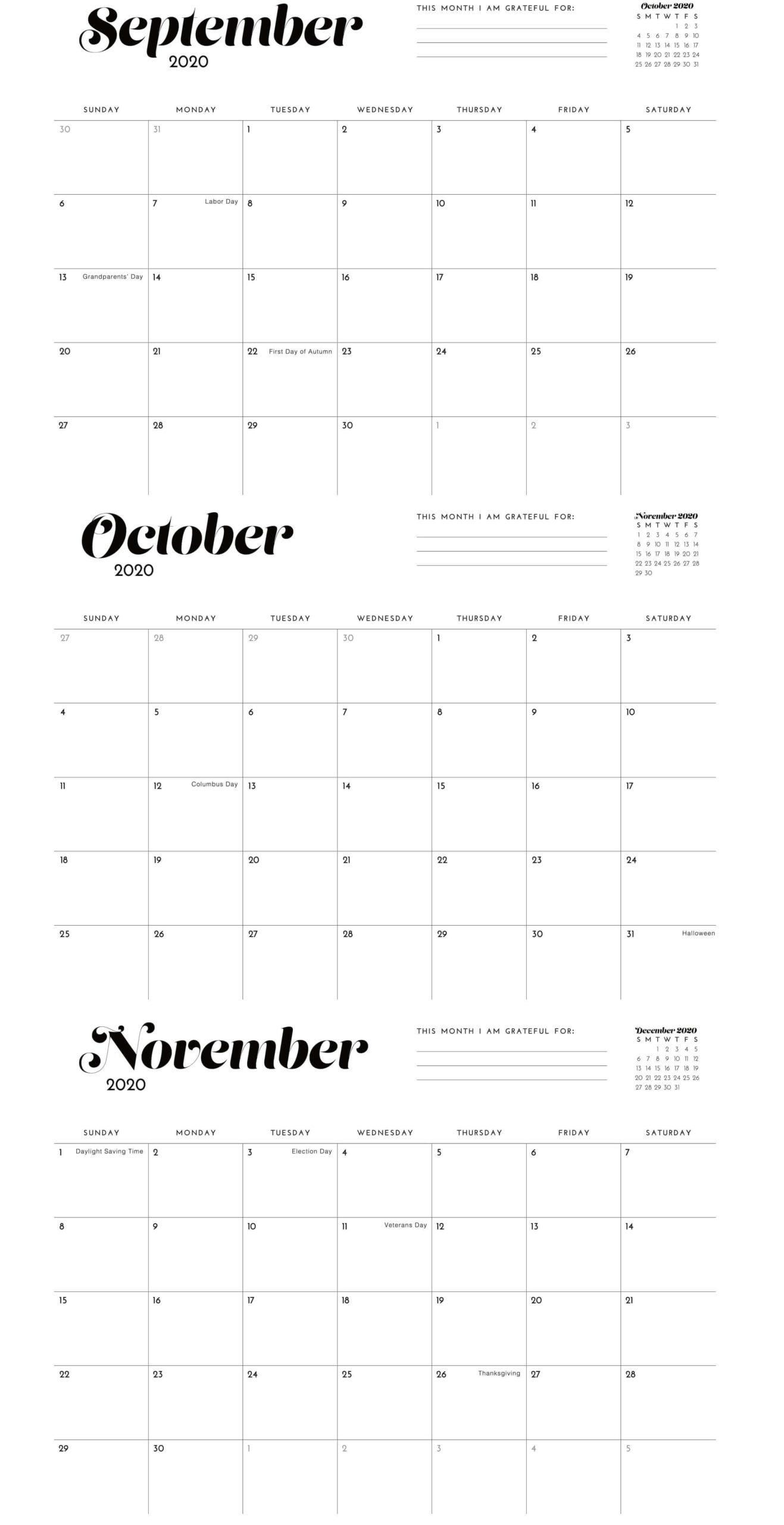 Kalender September Oktober 2020 Vorlage