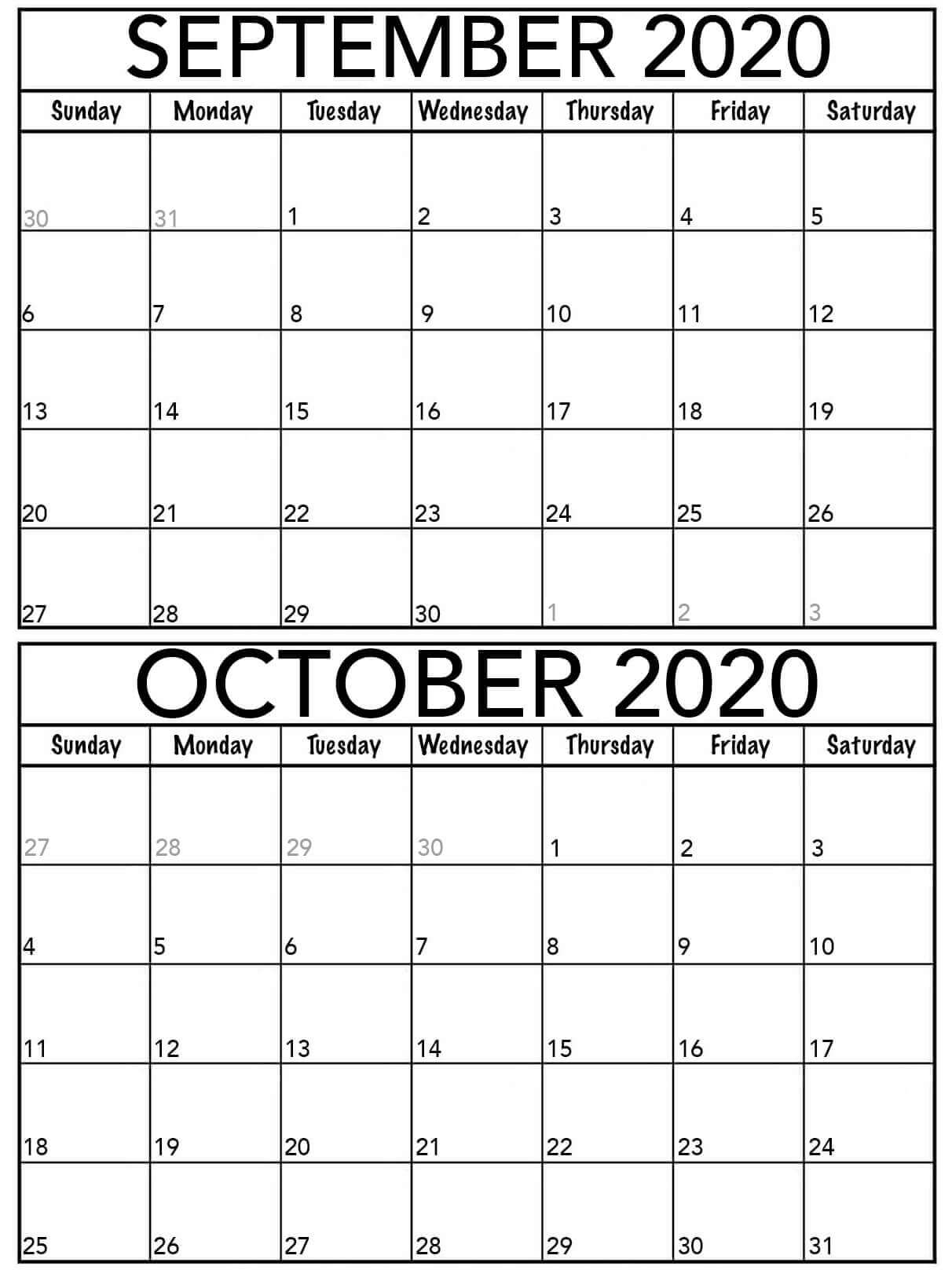 Kalender September Oktober 2020 zum Ausdrucken