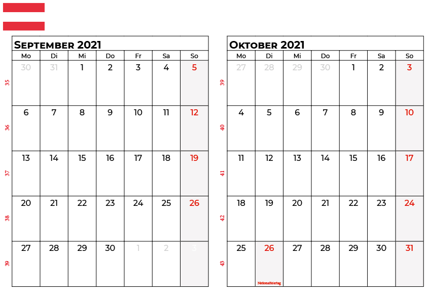 kalender september oktober 2021 osterreich