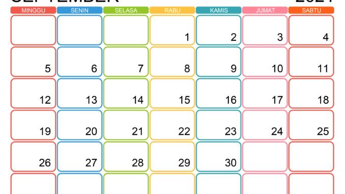 Kalendervorlage für September 2021