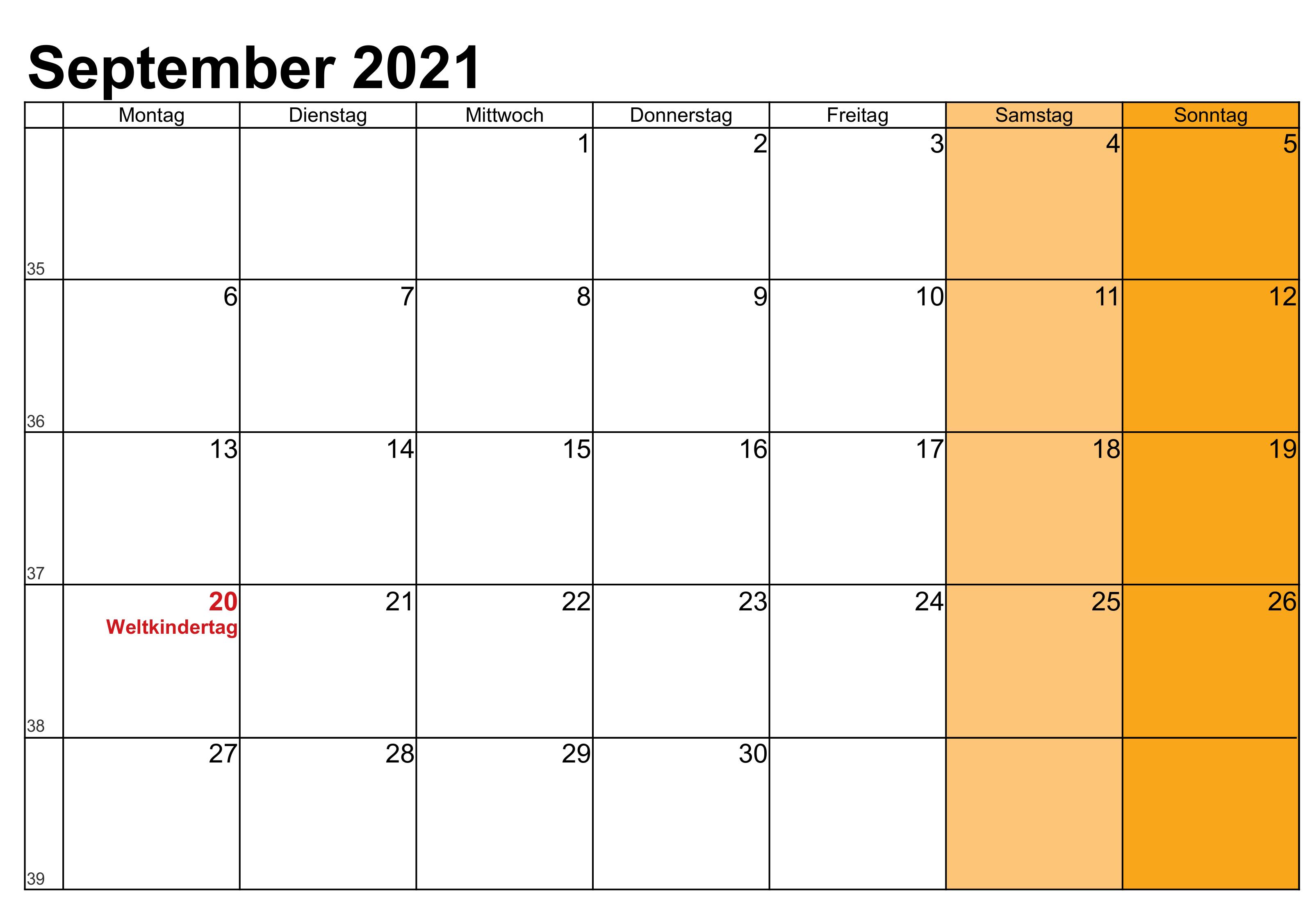 september 2021 kalender mit feiertagen