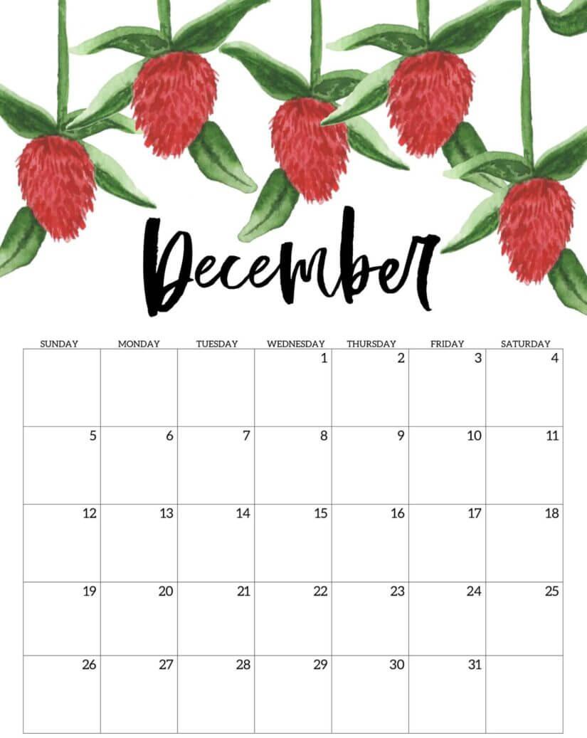2021 December Calendar Cute