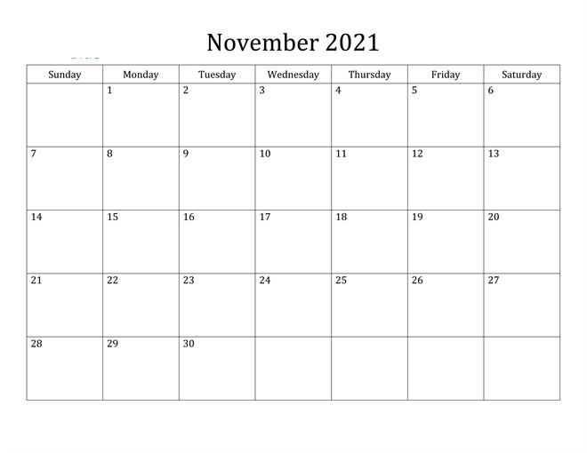 2021 Fillable November Calendar Printable