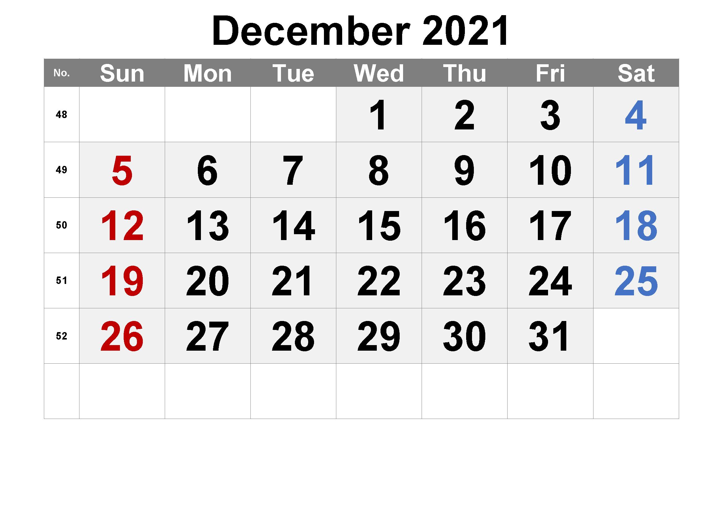 Blank December 2021 Calendar Template