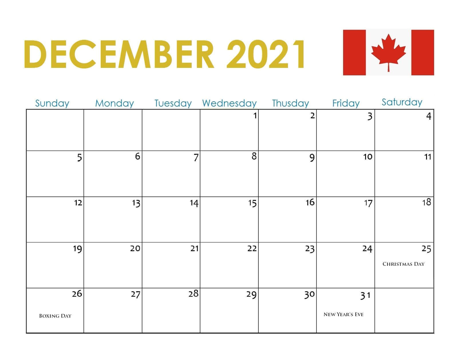 December 2021 Calendar with Holidays Canada