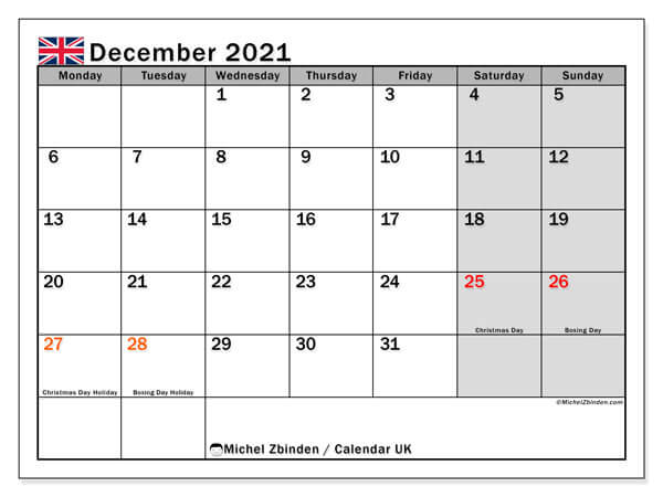 December 2021 UK Holidays Calendar