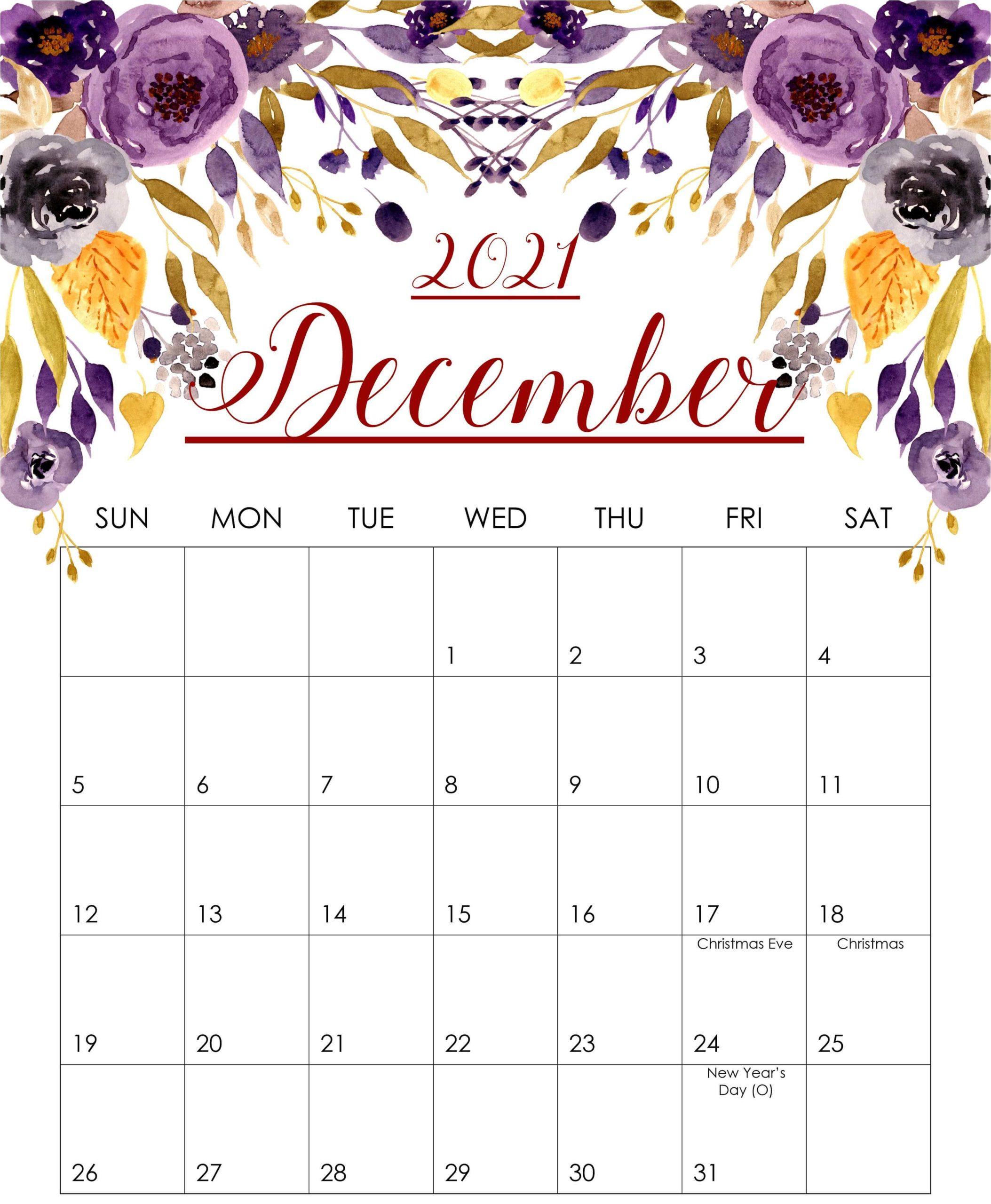 December Floral Calendar 2021