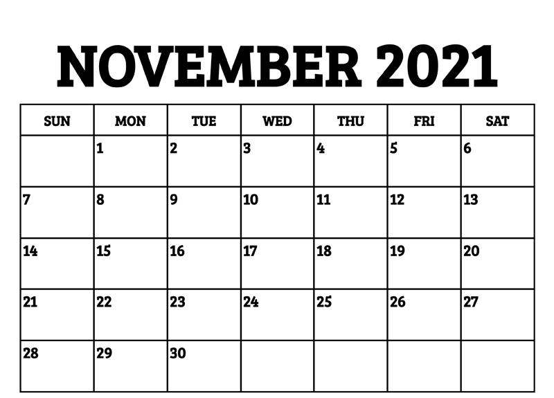 Editable Blank Calendar November 2021