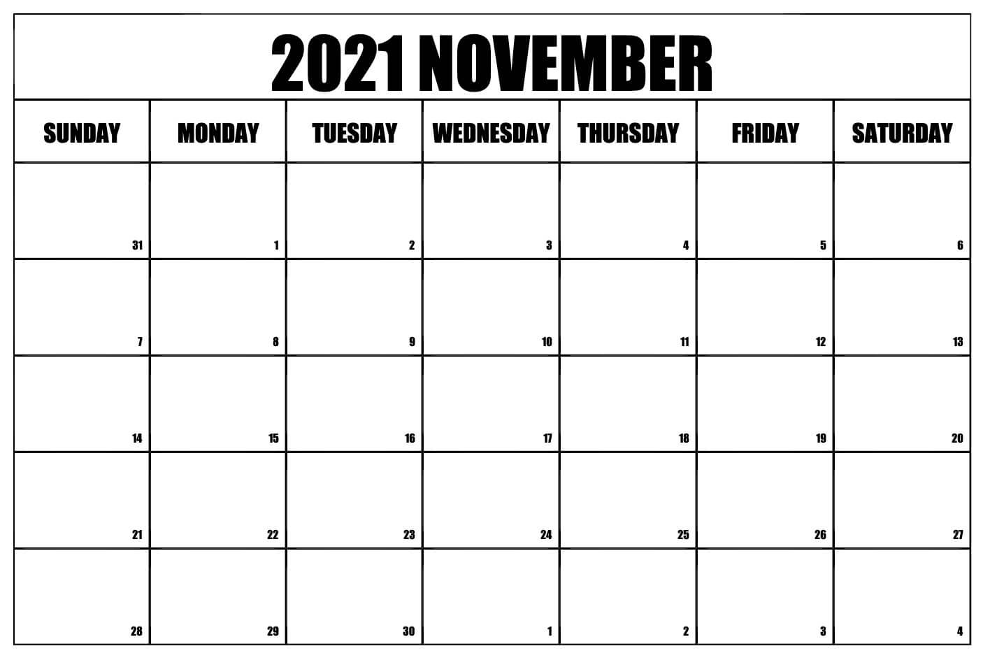 Editable Calendar For November 2021