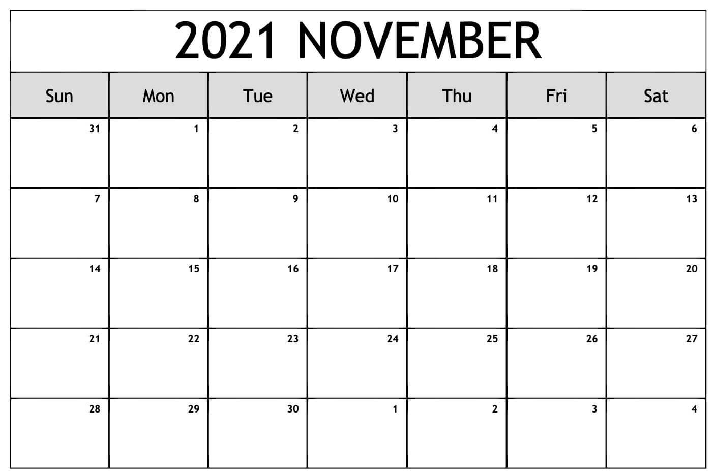 Editable November 2021 Calendar Excel