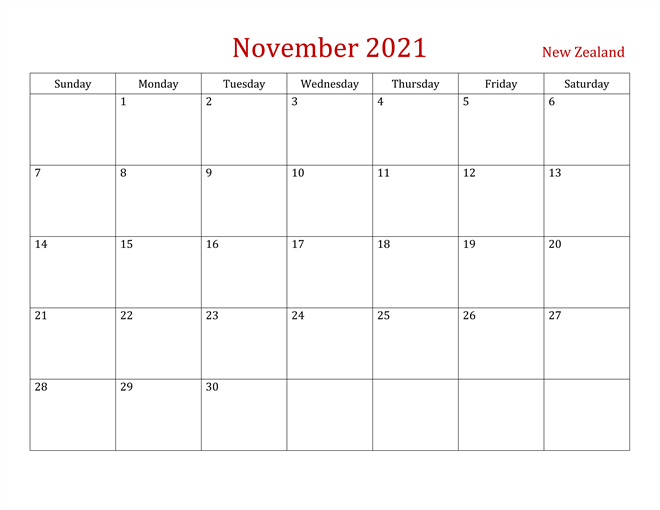 Editable November 2021 Calendar PDF